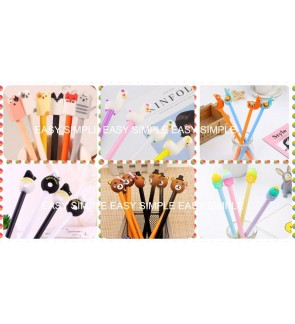 [Ready Stock] Kawaii Cute Cartoon Stationery Black Ink Gel Pen Kids School Gift