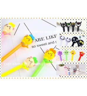 [Ready Stock] Kawaii Cute Cartoon Stationery Ballpoint Black Ink Gel Pen Kids
