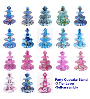 [Ready Stock] 3-Tier Round Kid Birthday Party Cardboard Cupcake Stand Holder