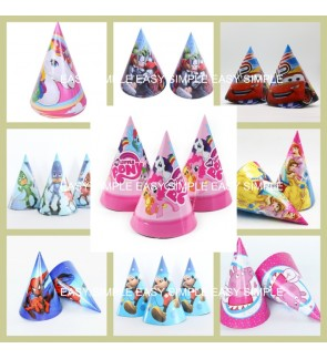 [Ready Stock] Set of 6pcs Kid Birthday Party Triangle Paper Hats String Elastic