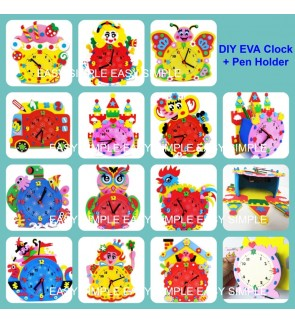 Kid Toys EVA DIY Clock Handmade Crafts Kits Decor Cartoon Pencil Holder Series Y