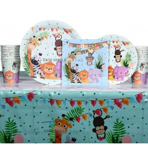 [Ready Stock] Jungle Cute Animal Party Set Tableware Disposable Paper Plate Cup Lion Giraffe