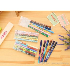 [Ready Stock] 6pcs PVC Box Black Colorful Gel Pen School Office Stationery Gift