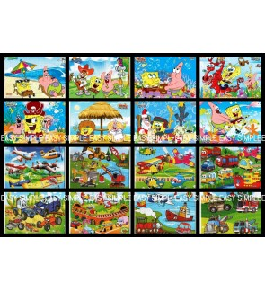 [Ready Stock] (1 Piece) A4 Size Sponge Bob Transportation Car Airplane Kids Puzzle Cute Jigsaw Gift Educational Learning