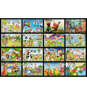 [Ready Stock] (1 Piece) A4 Size Paper Puzzle Jigsaw Cute Animal Jungle Safari Party Gift Education