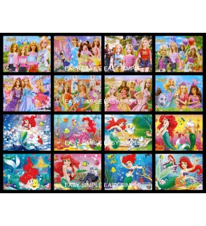 [Ready Stock] 40Pcs Barbie Mermaid Kids Puzzle Cute Jigsaw Puzzle Kids