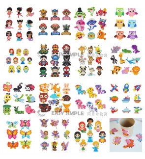 [Ready Stock] (1 Set) New 5D DIY Diamond Painting Kits Mosaic Sticker Kid Adult Cartoon Shark Princess Cup Decoration