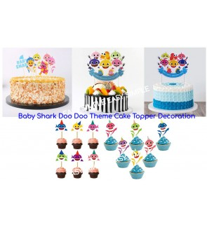 [Ready Stock] Cupcake Toppers Baby Shark Theme Cake Decorations Dessert Party