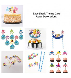 [Ready Stock] (1 Set) Cupcake Cake Paper Toppers Cute Baby Q Crab Shark Theme Cake Decorations Dessert Party