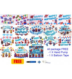 [Ready Stock] Kid Happy Birthday Superhero Decoration Balloon Aluminium Foil