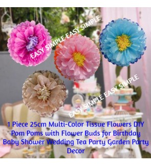 [Ready Stock] 1 Piece 25cm Tissue Paper Chrysanth Flowers Bud Honeycomb Party