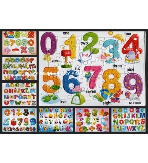 [Ready Stock]40Pcs ABC and 123 Kids Puzzle Cute Boy Birthday Gift