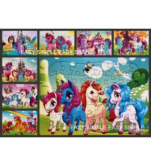 [Ready Stock] 1Piece A4 Unicorn Pony Kids Paper Jigsaw Puzzle Cute Girl Birthday Gift Goodies Bag