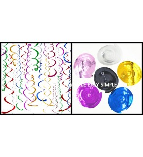 [Ready Stock] 6pcs Party Swirl Decorations Glitter Foil Ceiling Hanging PVC