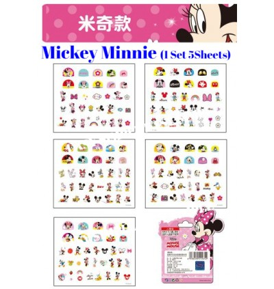 [Ready Stock] 5sheets Disney Cartoon Kid Vinly Nail Decals Stickers Girl Party