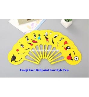 [Ready Stock] Emoji Face Ballpoint Fan Style Pen Stationery Gift Party Goodies School Office