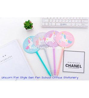 [Ready Stock] Unicorn Fan Style Gel Pen School Office Stationery Party Gift