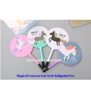 [Ready Stock]Unicorn Fan Style Ballpoint Pen School Office Stationery Party Gift