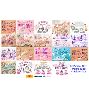 [Ready Stock] Kid Happy Birthday Unicorn Pony Decoration Balloon Aluminium Foil