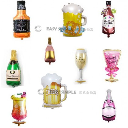 [Ready Stock] (1 Piece) Large 16 Inch Mini Size Wine Bottle Beer Cup Whisky Party Celebrate Theme Foil Balloon