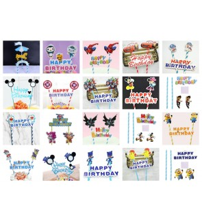 Cartoon Theme Happy Birthday Cake Topper Flags Paper Straw Banner Accessories