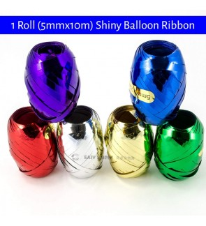 [Ready Stock] 1 Roll (5mmx10m) Shiny Balloon Ribbon Party Decoration String Craft Wrapping Gift