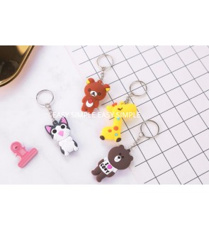 [Ready Stock] 1pc Double Side Mini PVC Key Chain Kid Birthday Bag Cartoon Gift