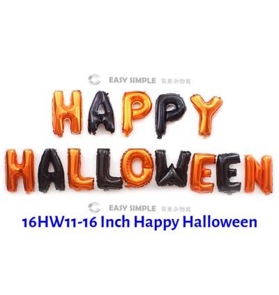 [Ready Stock] 16Inch Mini Small Size Happy Halloween Foil Latex Balloon Black Orange Alphabet Ghost Scary Spooky Theme