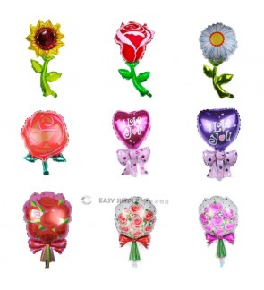 [Ready Stock](1 Piece) Large Size OR 16 Inch Rose Sunflower Chrysanthemum Bouquet Foil Balloon Wall Decoration