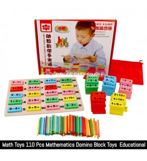 [Ready Stock] 110 Pcs Wooden Domino Blocks Sticks Math Counting Game Educational