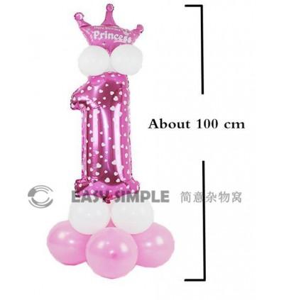 [Ready Stock]DIY Number Gold Silver Star Road Lead Column Birthday Foil Balloon