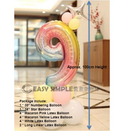 [Ready Stock]DIY Number Rainbow Silver Star Road Lead Column Birthday Foil Balloon