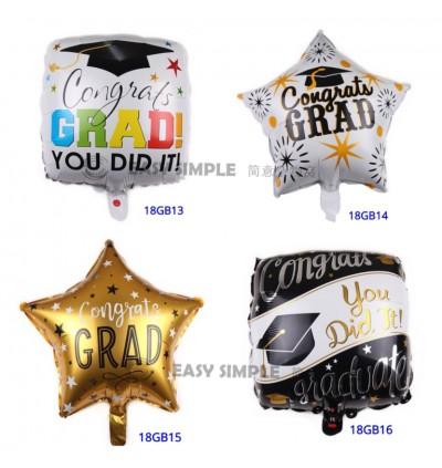 [Ready Stock] 18 Inch Aluminium Foil Balloon Party Graduation Celebration Model Balloons