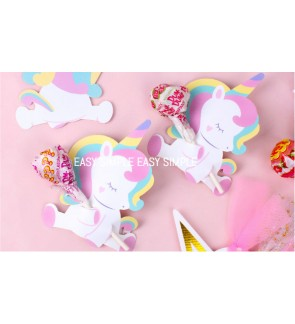 [Ready Stock] 5pcs Rainbow Baby Unicorn Candy Paper Holder Tag Decoration Lollipop