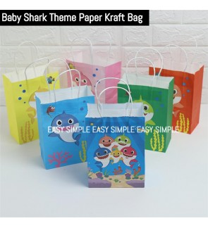 [Ready Stock] 1 Piece (21*15*8cm) Baby Shark Printed Kraft Paper Bag Adorable Colorful