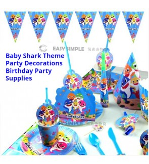 [Ready Stock]Baby Shark Cartoon Theme Birthday Party Decoration Tableware Banner