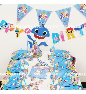 [Ready Stock]Baby Shark Cartoon Theme Birthday Party Decoration Tableware Banner