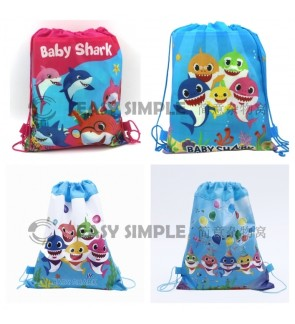 [Ready Stock] Baby Shark Drawstring Party Bags Gift Backpack Goodie Favor Bag Birthday