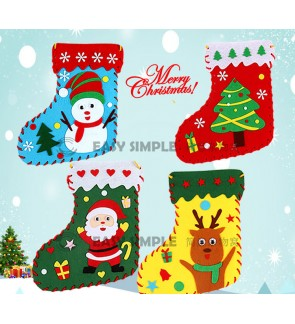[Ready Stock] Kid DIY Christmas Socks Gift Bags Non-Woven Fabric Party Goodies
