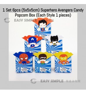 [Ready Stock] 1 Set (6pcs) (5*5*5cm) SuperHeroes Avenger Party Candy Popcorn Box Gift