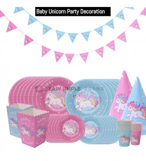 [Ready Stock] Baby Unicorn Themed Party Decoration Supplies Disposable Tableware