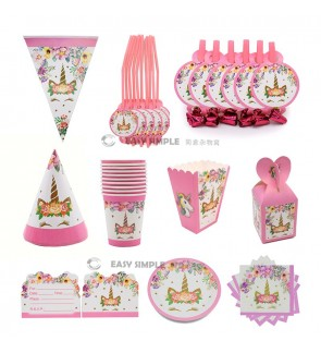 [Ready Stock] Pink Color Smile Flower Unicorn Girl Boy Birthday Party Disposable Tableware Paper Plate Banner