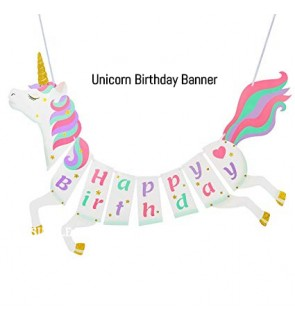 [Ready Stock] Kid Party Unicorn Sparking Glitter Banner Decoration Supplies Girl