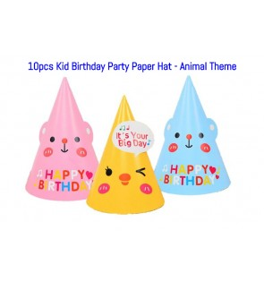 [Ready Stock] Set of 10pcs Kid Birthday Party Paper Hat Animal Theme Decoration