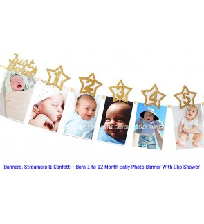 [Ready Stock] 1set Just Born 1 to 12 Month Baby Photo Banner With Clip Shower