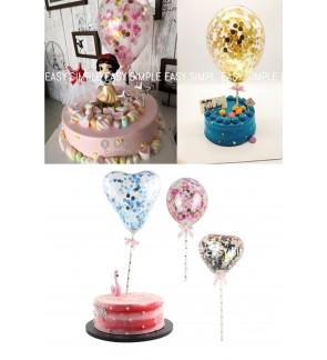 [Ready Stock] 5 inch Glitter Confetti Balloons Mini Clear Latex Cake Topper
