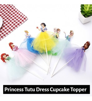 [Ready Stock] (1 Piece/pack) Disney Princess Tutu Dress Cupcake Cake Topper Girl Birthday Party Decoration Supply