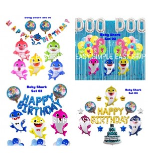 [Ready Stock] Kid Happy Birthday Baby Shark Party Decoration Balloon Aluminium Foil Set