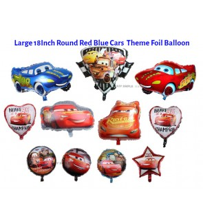 [Ready Stock] Large 18Inch Round Red Blue 95 Lightning McQueen Cars Vehicle Theme Foil Balloon