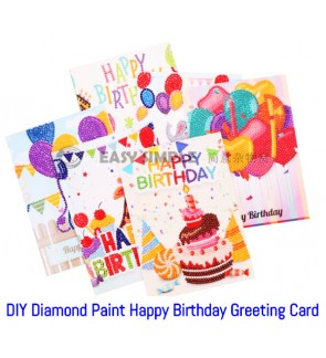 [Ready Stock] 5D DIY Diamond Painting Birthday Greeting Card with Envelope Gift